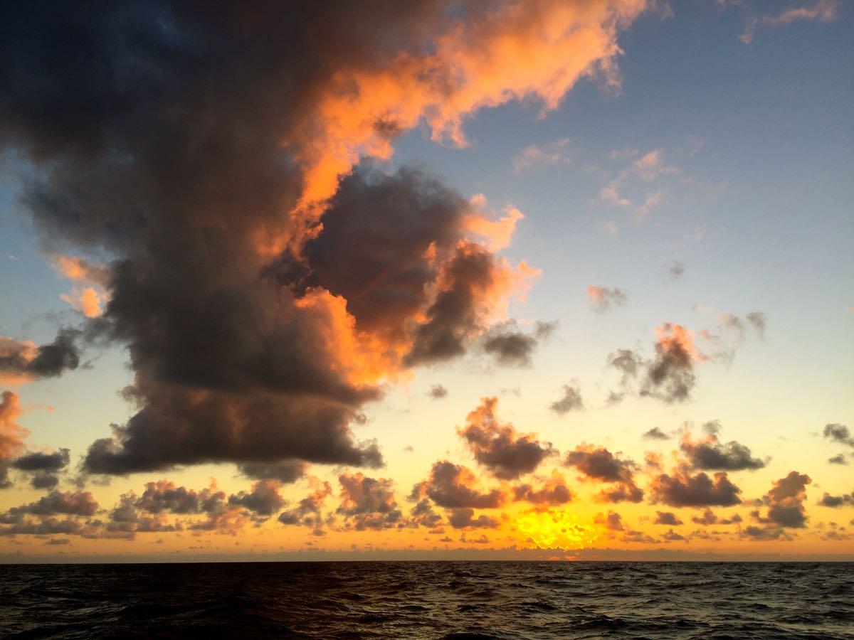 Abendstimmung. Mitten auf dem Atlantik.