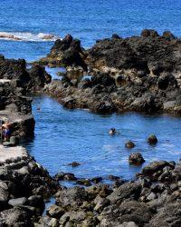 Felsbadestelle. Piscina naturais. Dort baden wir lieber als am Sandstrand.