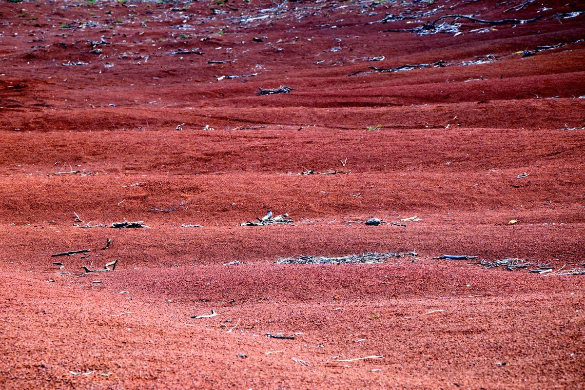 """Barreiro da Faneca an der Nordküste Santa Marias. Die """"Wüste"""" enstand durch den Abbau von Ton...."""
