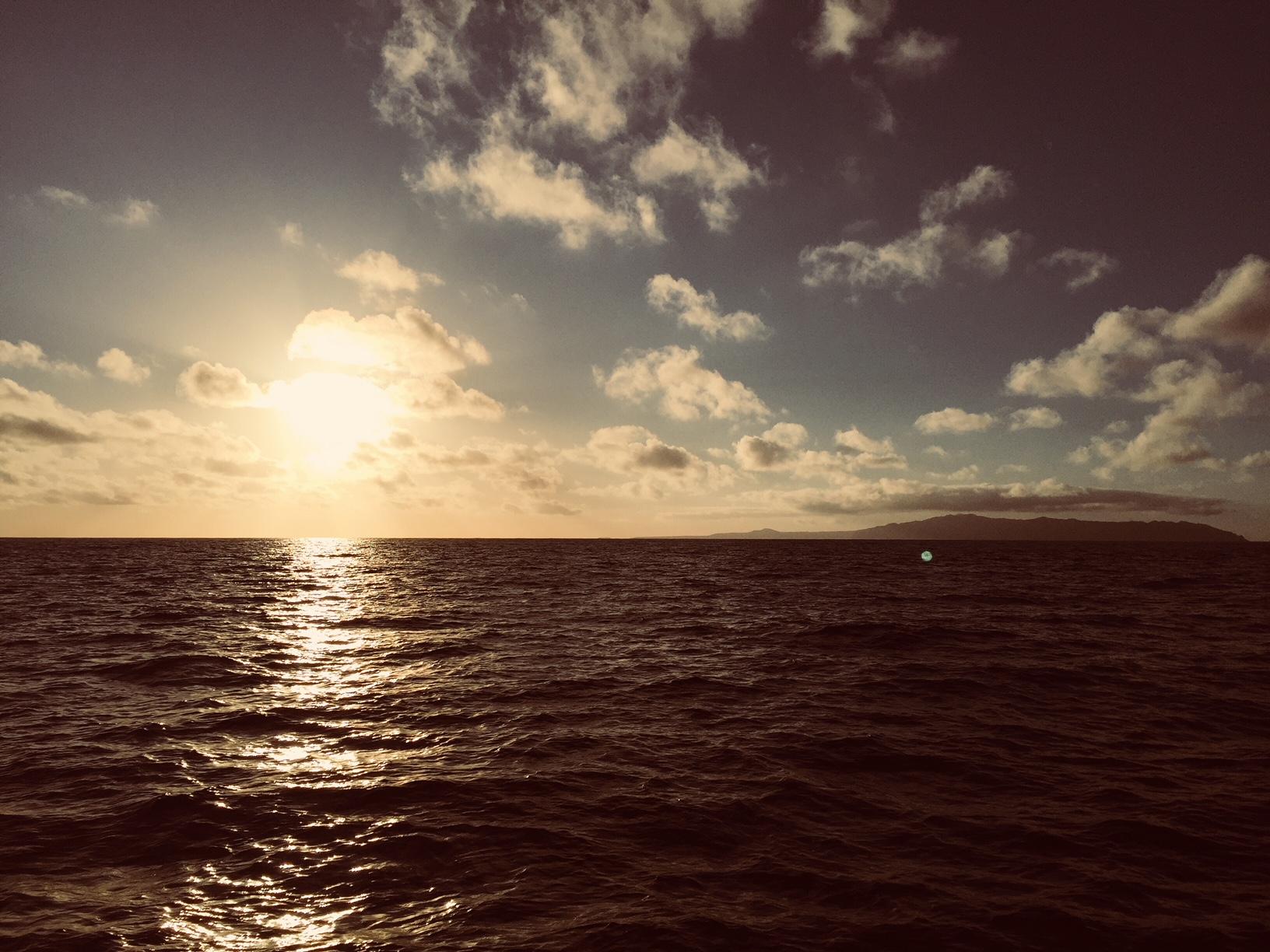 Land in Sicht. Santa Maria, Azoren.