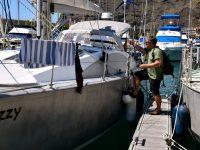 Als wären wir nie weg gewesen. TinLizzy am Steg in Puerto de Tazacorte.