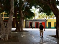 Auf dem zentralen Platz in San Sebastian.