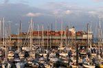 Cuxhaven, Marina. Die Aussicht von der Terasse beim Abendessen.