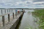Ankern vorm Golfplatz am Balmer See, Achterwasser.